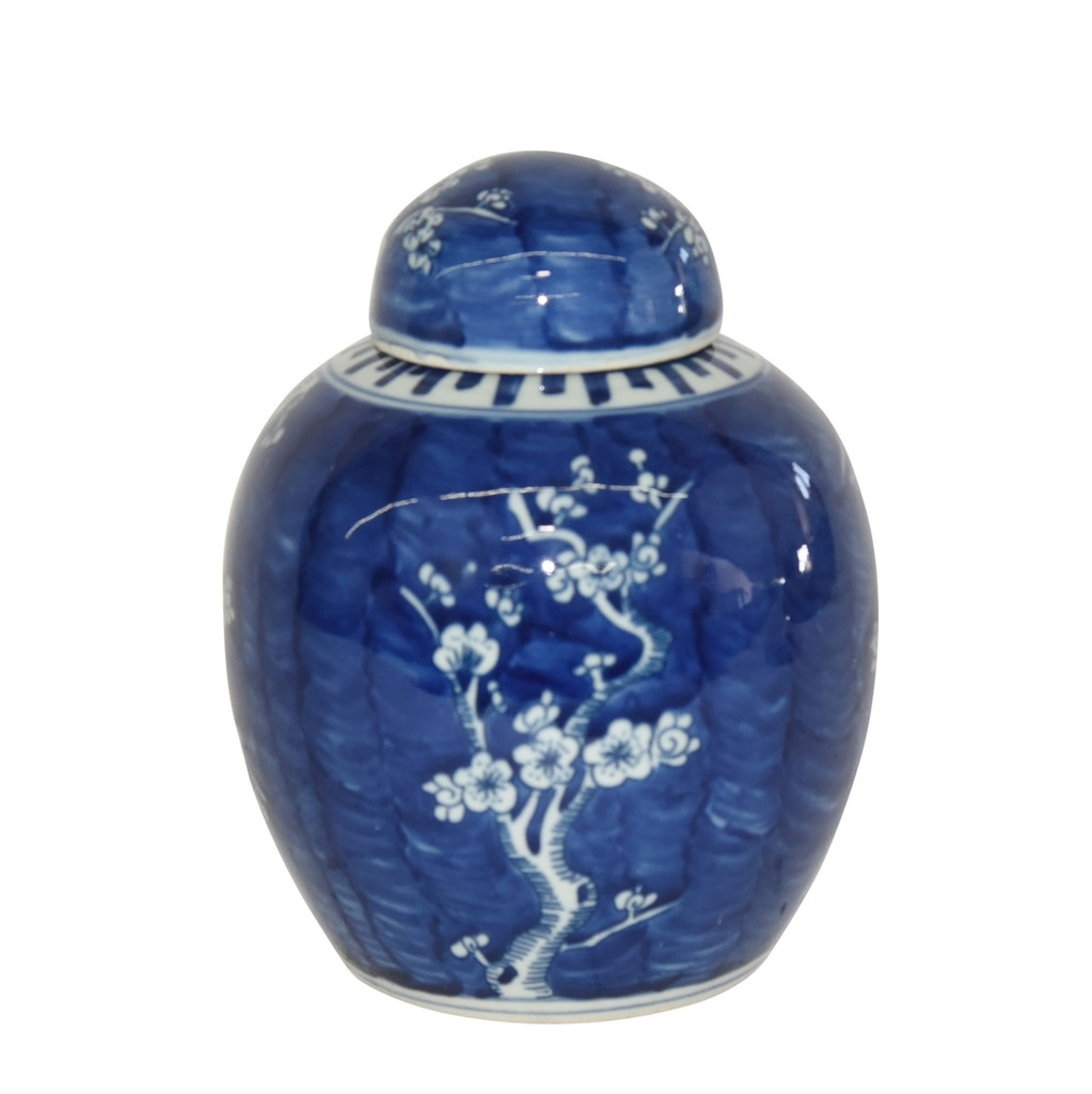 Blue & White Plum Lidded Jar
