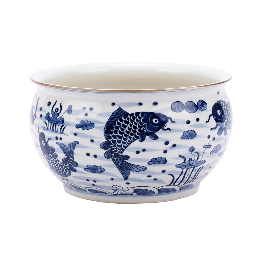 Blue & White Fish Motif Orchid Bowl