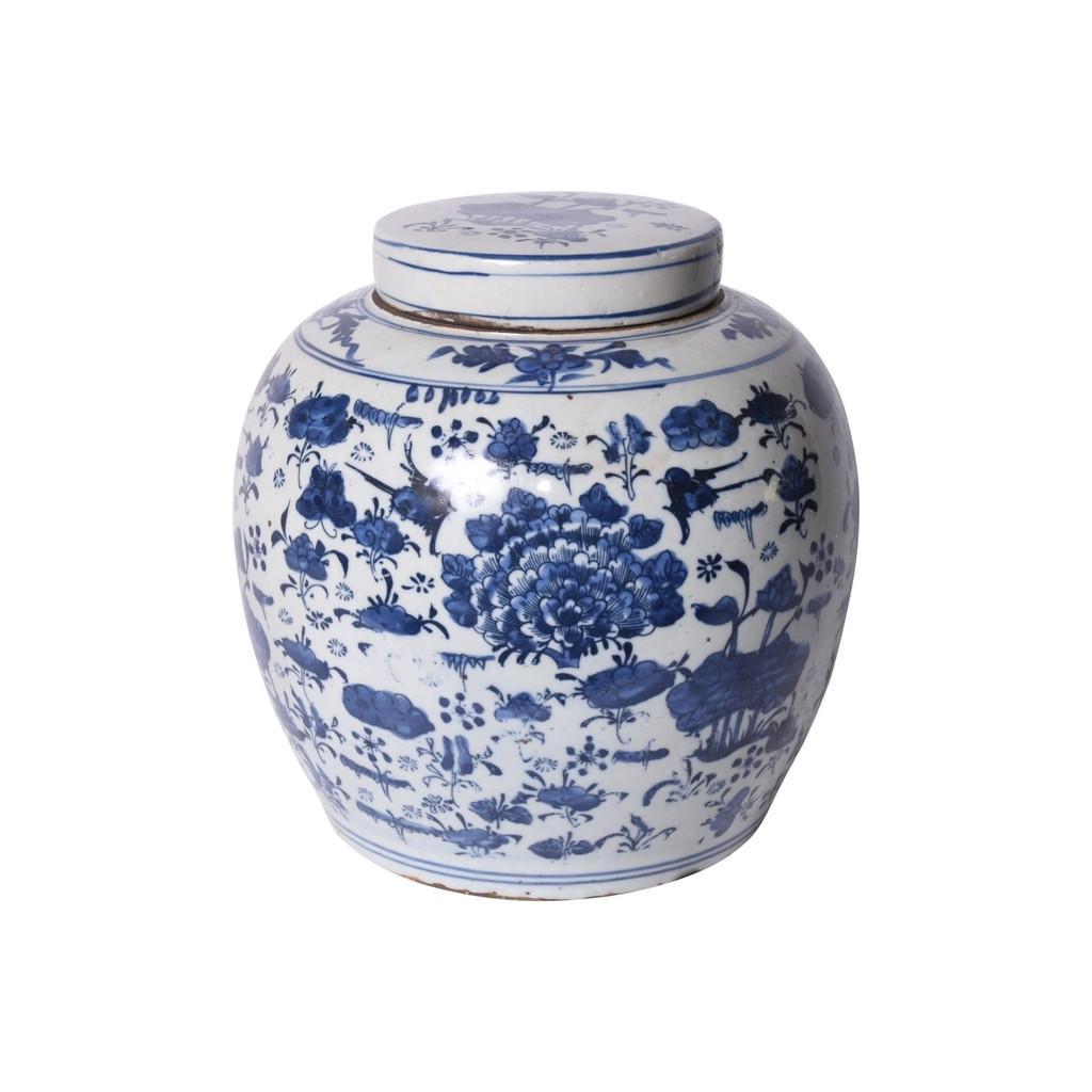Blue & White Swallows & Flowers Ancestor Jar - L