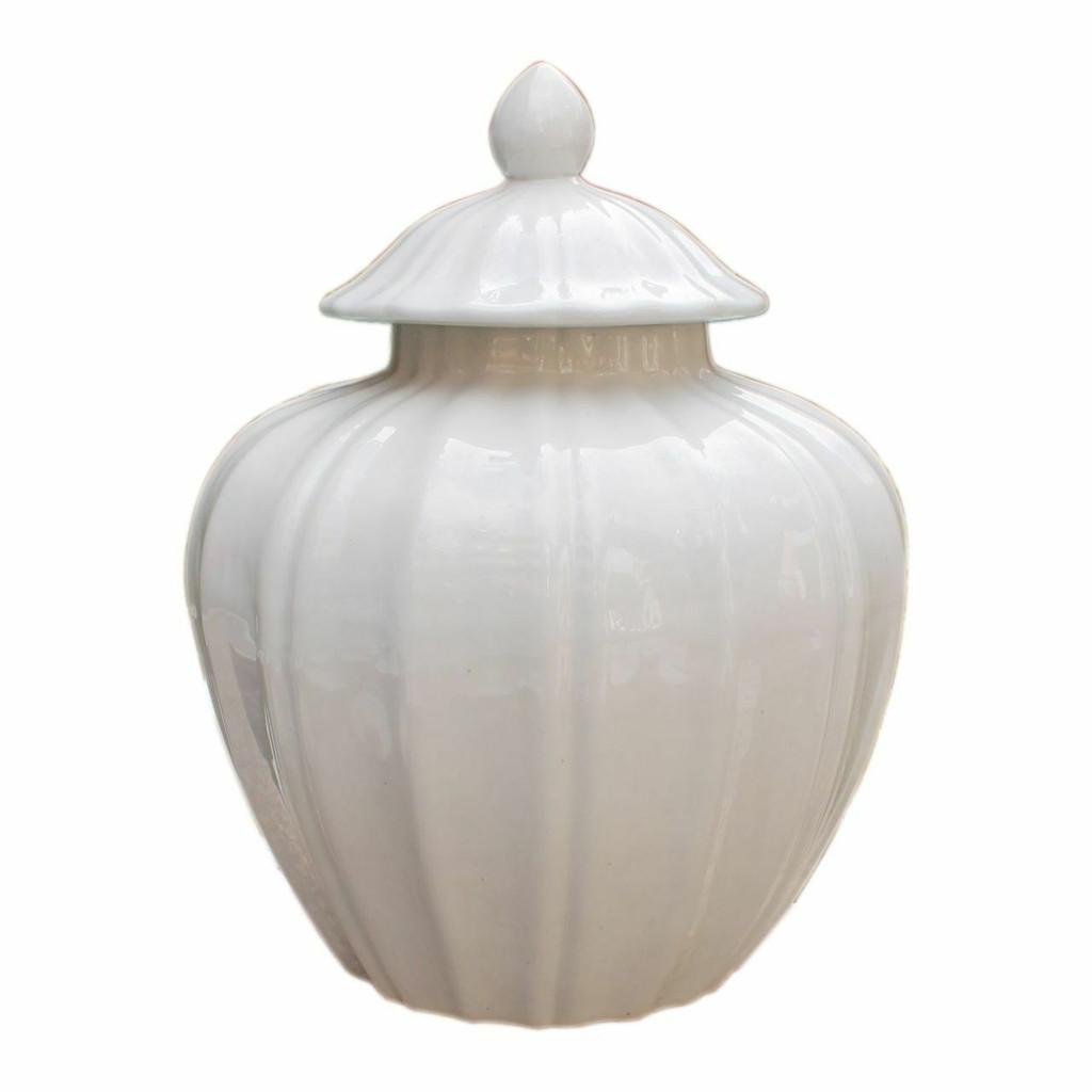 Fluted Pumpkin Jar - White