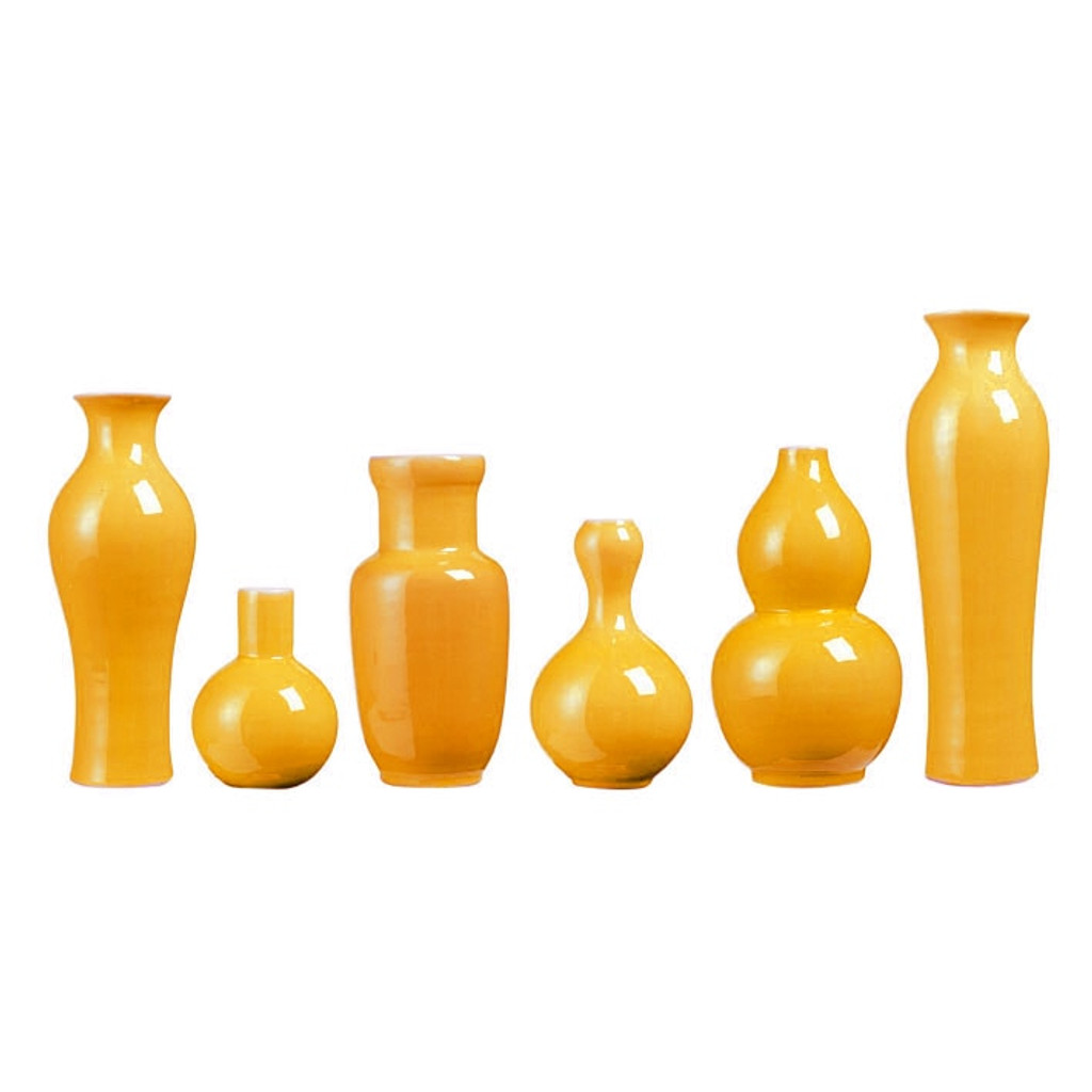 Set of 6 Assorted Vases - Yellow