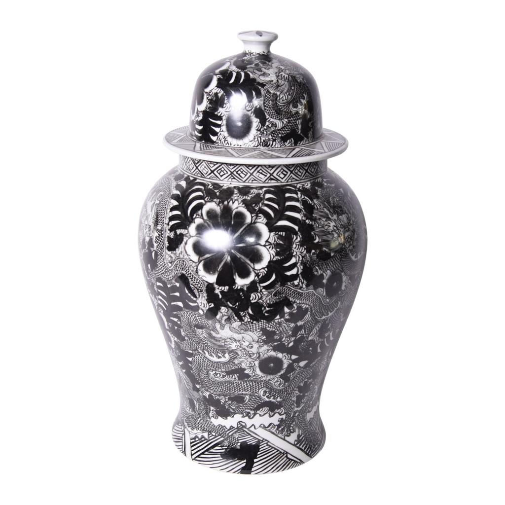Black Temple Jar W/ Dragon & Floral Motif