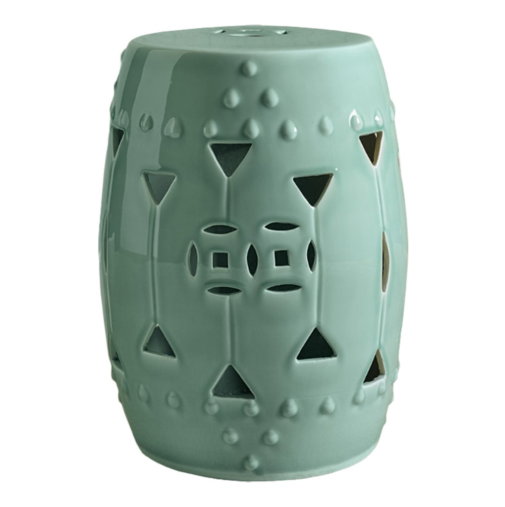 Carved Triangle Round Stool - Celadon