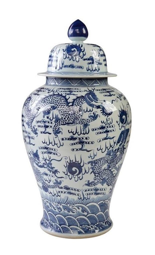 Blue & White Temple Jar Sea Dragon Motif - L
