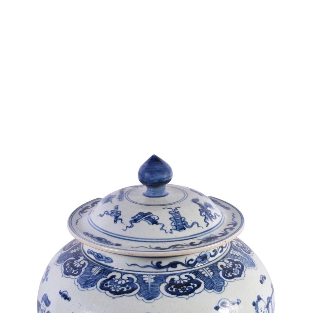 Blue & White Ginger Jar W/ Eight Immortals Motif