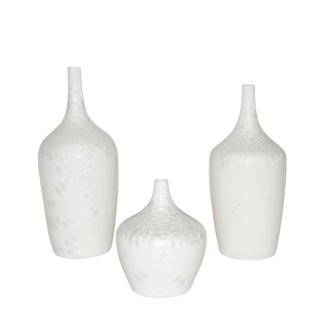 Contemporary White Crystal Shell Vases - Set of 3