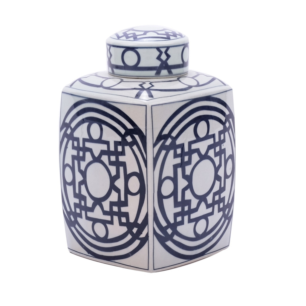 Blue & White Square Tea Jar With Pattern of Lines - Large