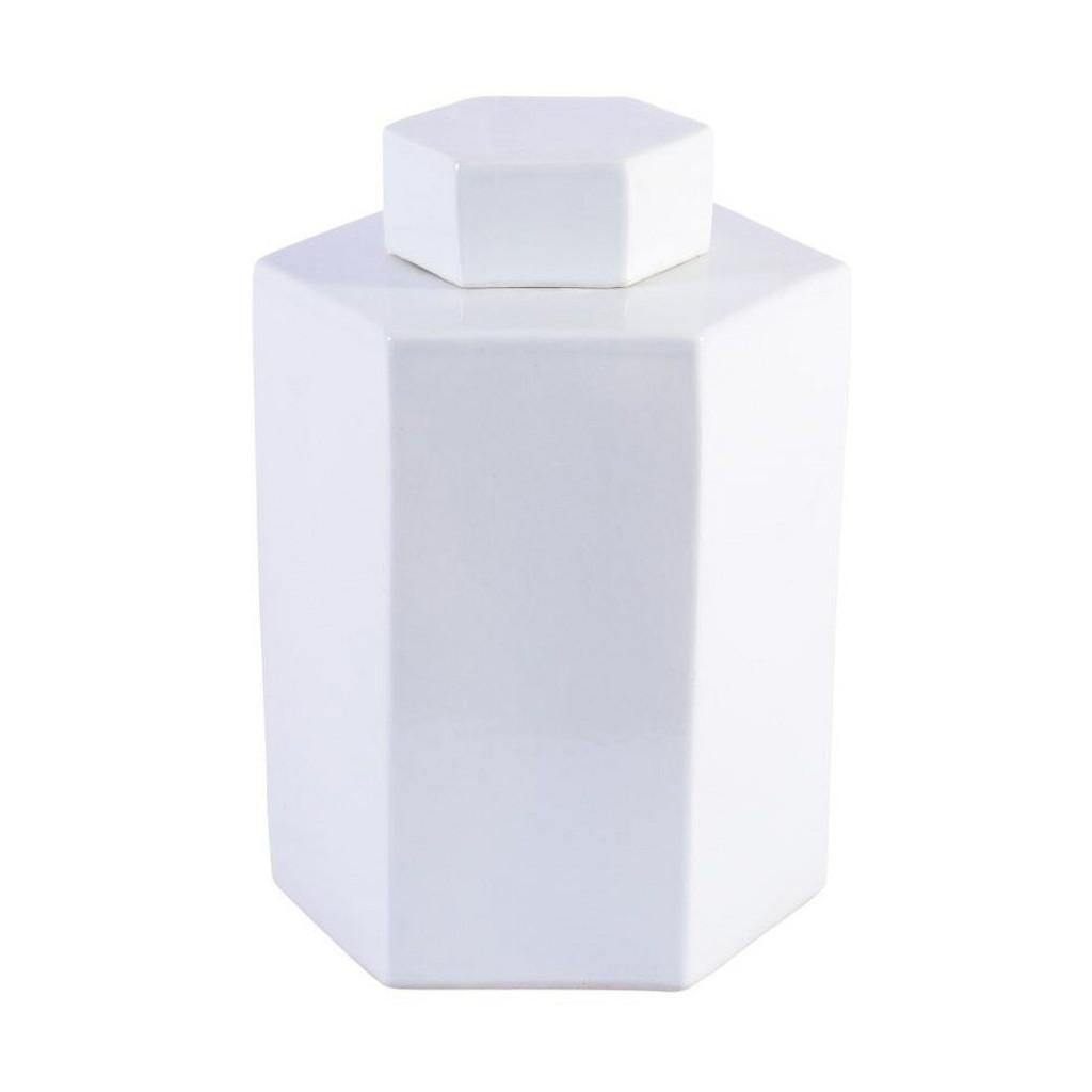 Porcelain Hex Tea Jar Glossy White - 2 Sizes
