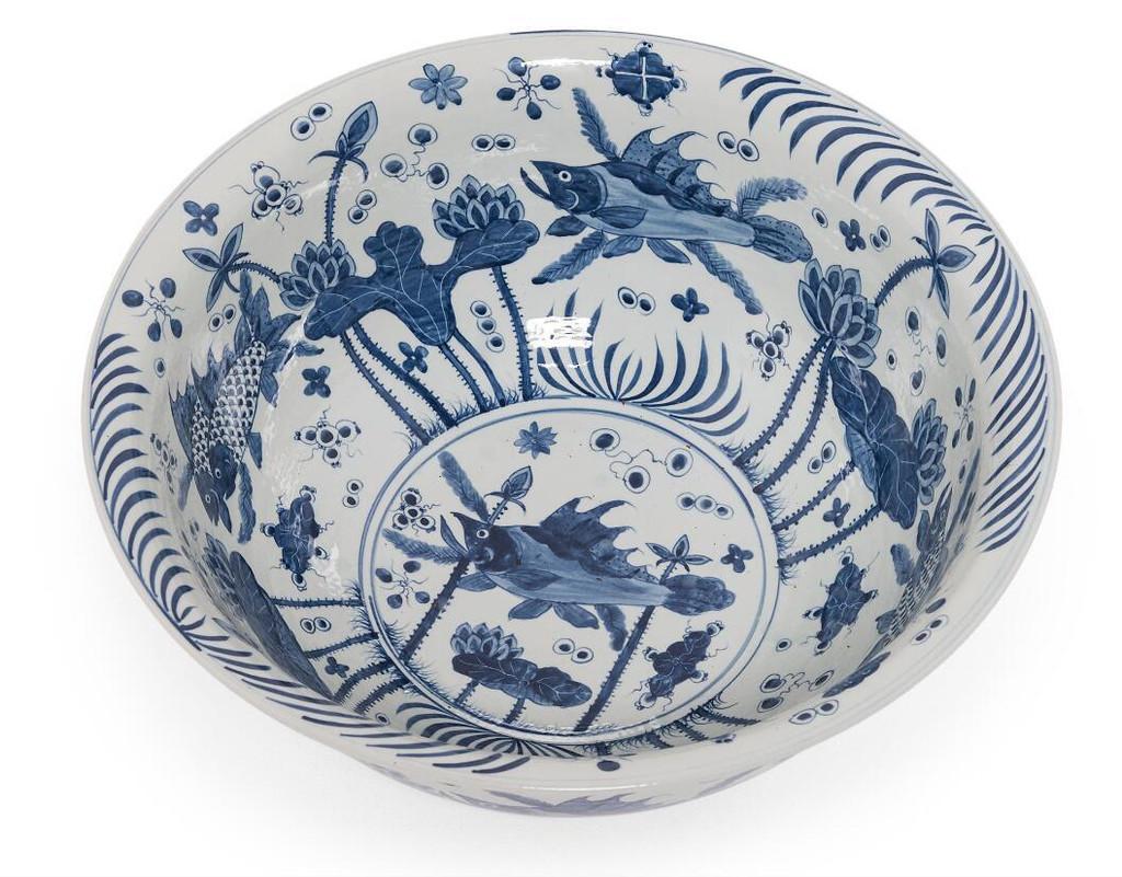 Blue & White Fish Bowl Large