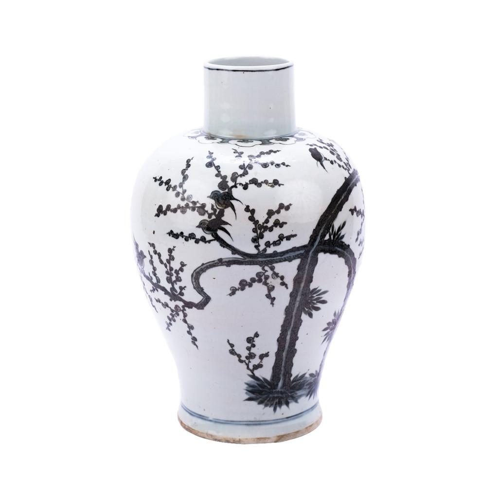 Blue & White Porcelain Kwanyin Vase Magpie On Treetop