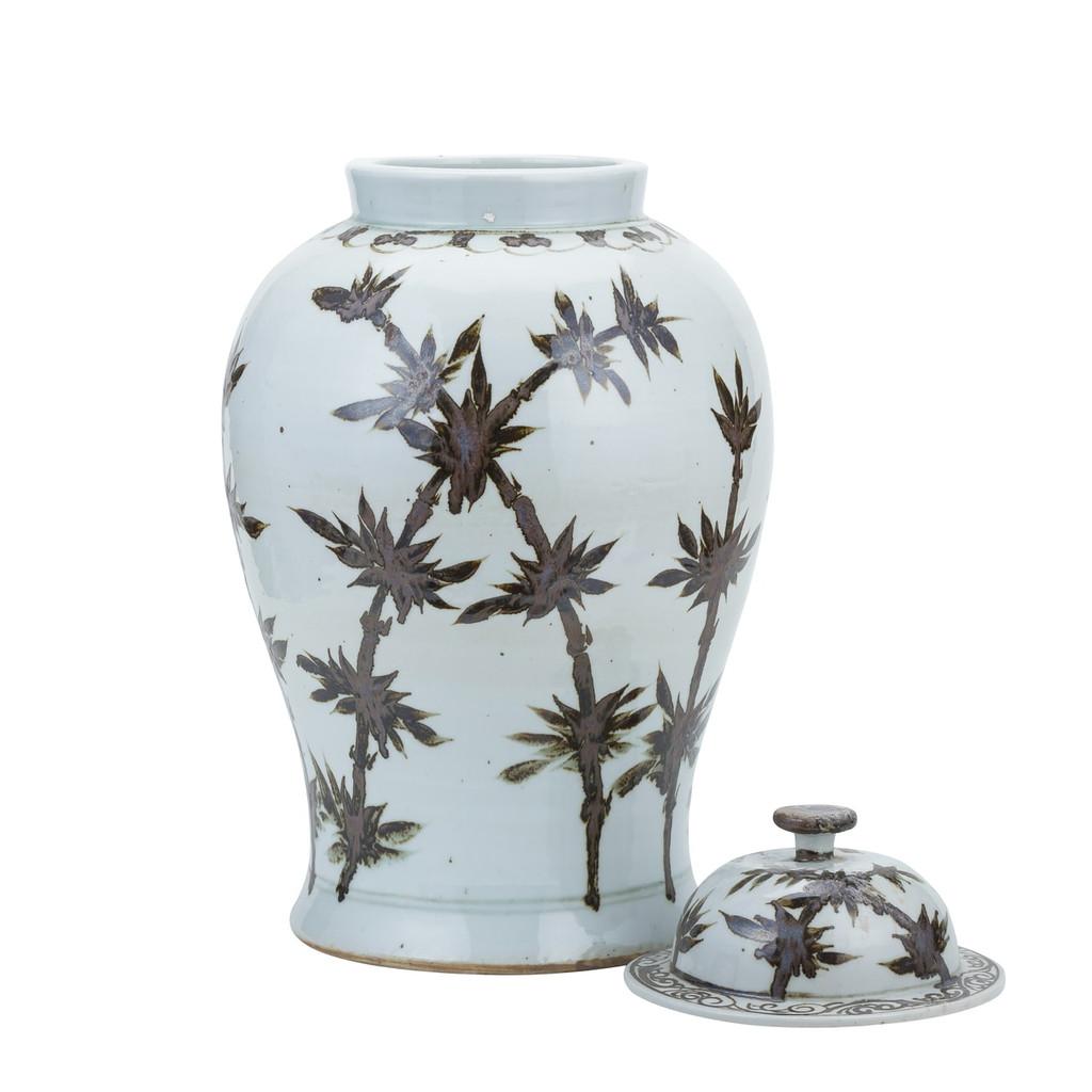 Rusty Brown Dynasty Bamboo Temple Jar