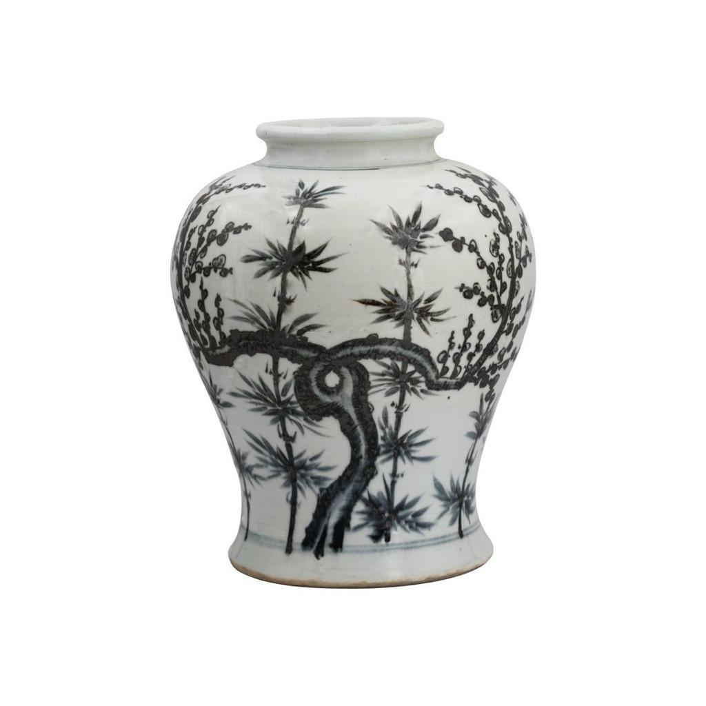 Blue & White Porcelain Yuan Dynasty Bamboo Flaring Rim Jar