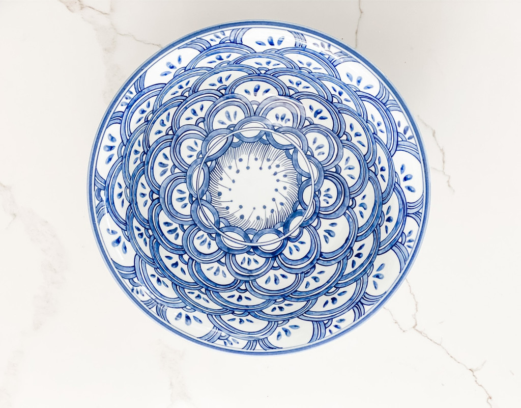 Blue & White Porcelain Bowl Sea Wave Motif