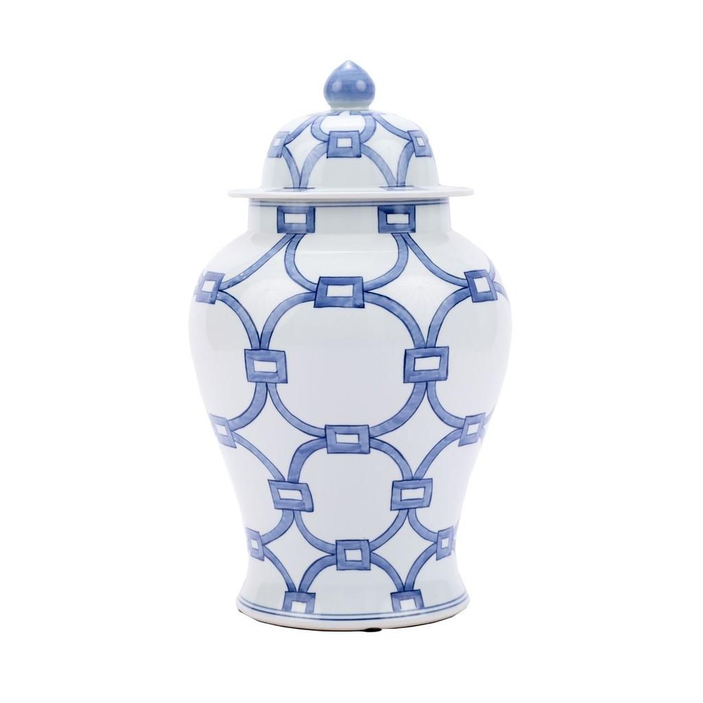 Blue And White Porcelain Lover Locks Temple Jar - 2 Sizes