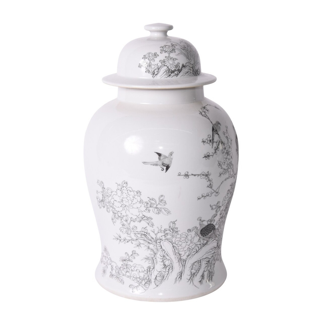 White Temple Jar With Black Peacock Motif