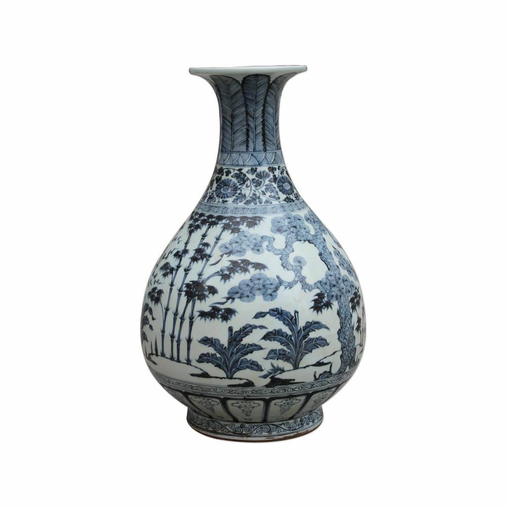 Blue & White Porcelain Ming Pear-shaped Vase Pine Bamboo & Plum Motif