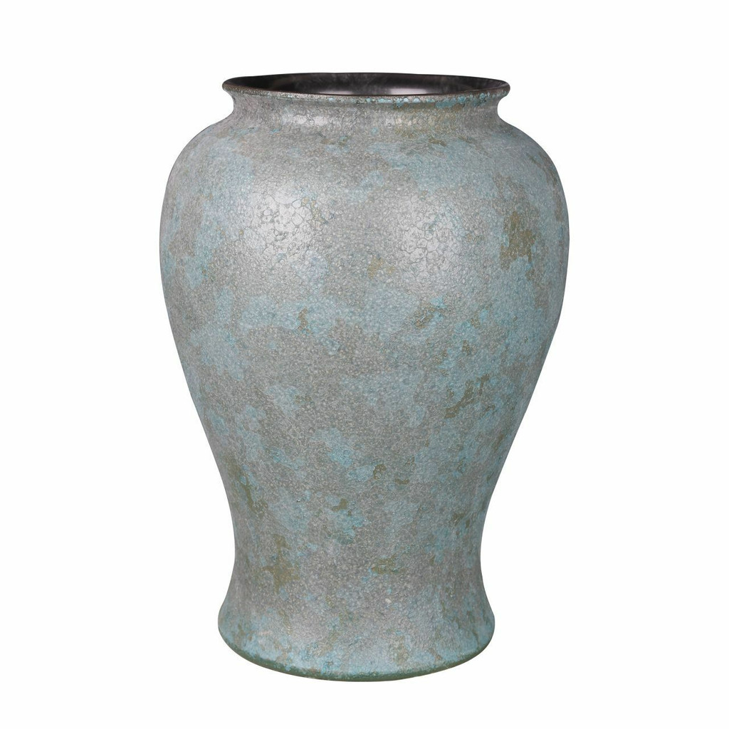 Weathered Bronze Green Crackle Jar - M