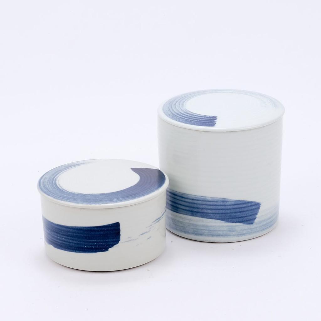 Blue & White Porcelain Brushstroke Lidded Jar - 2 Sizes