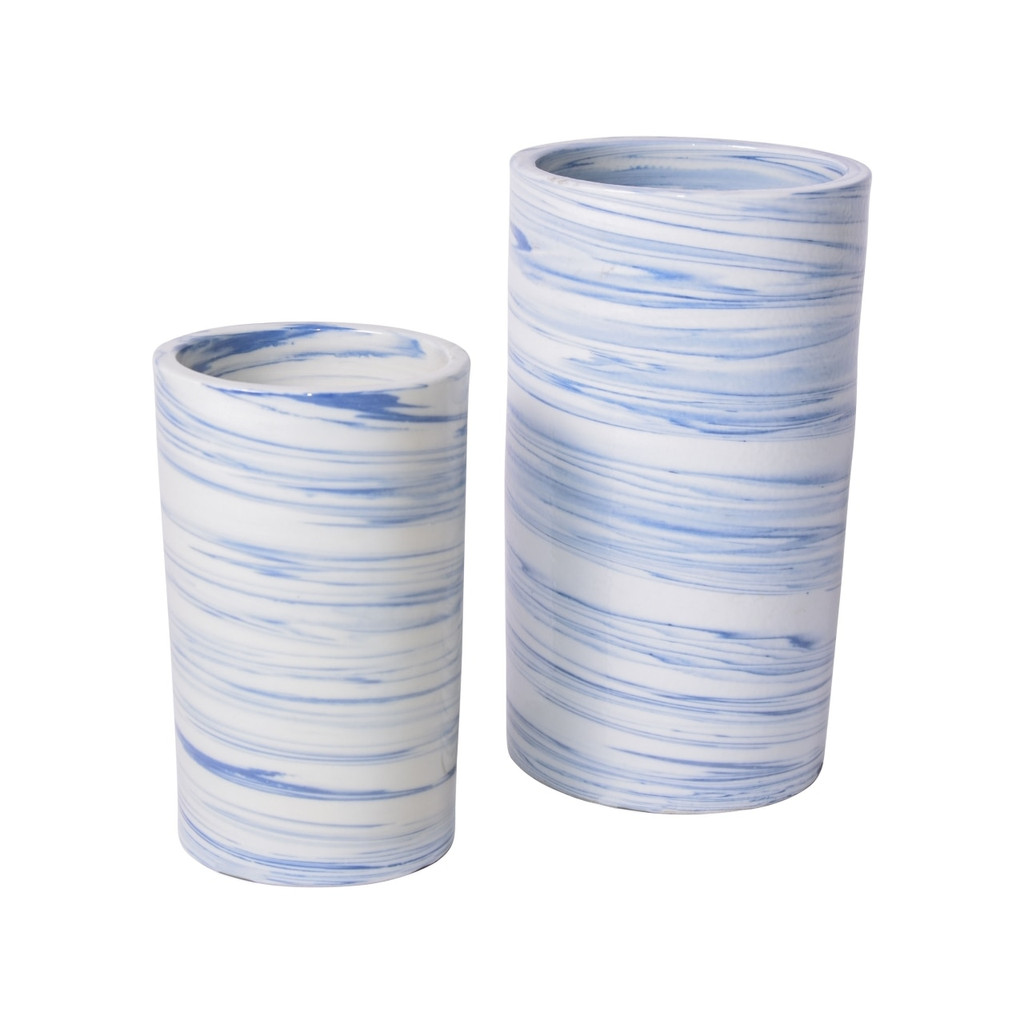 Blue & White Porcelain Marblized Cylinder Vase - 2 Sizes