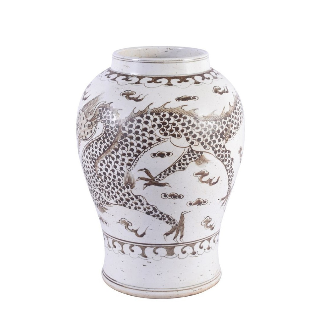 Brown Porcelain Hong Wu Flaring Rim Jar Dragon Motif