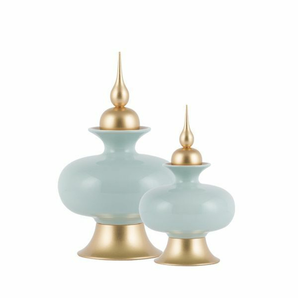 Pot w/Lid Chaucer Mint Green Gold - 2 Sizes