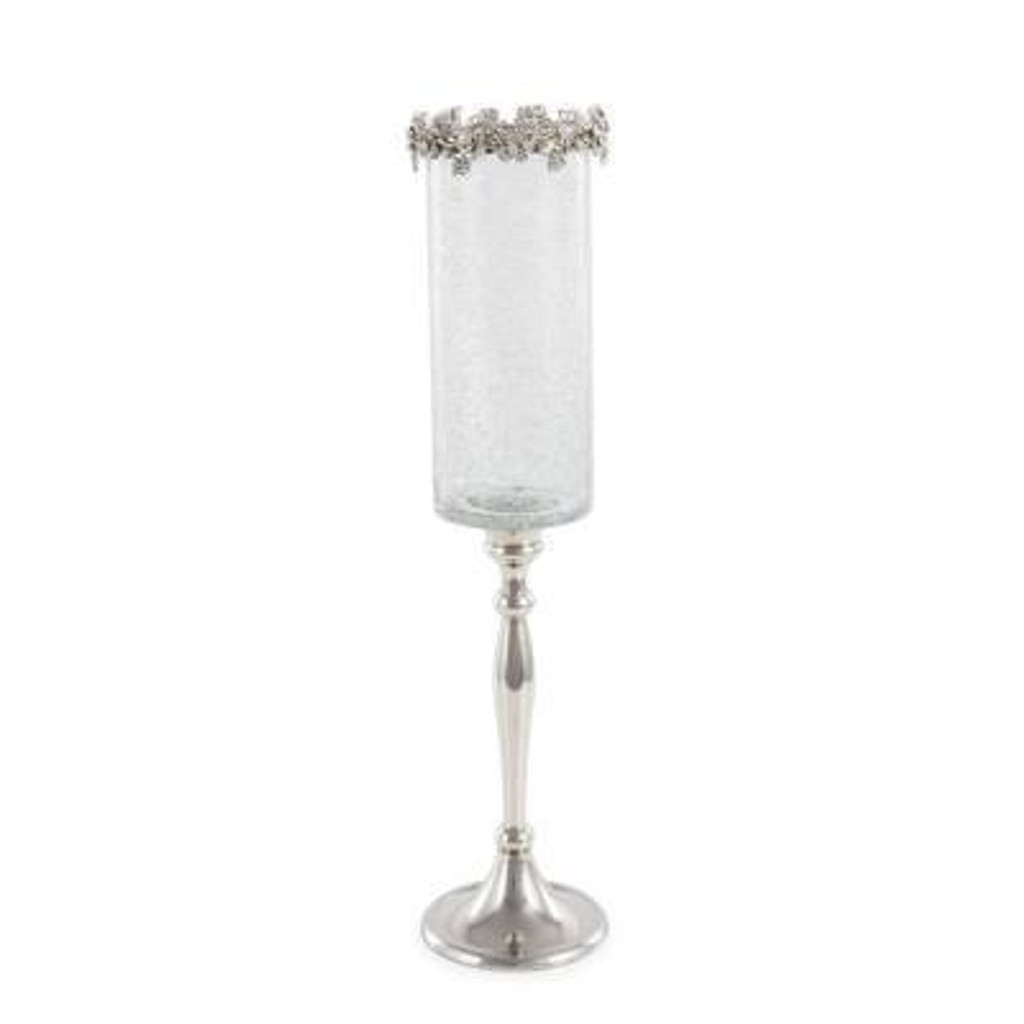 Candleholder Dionisio Aluminum/ Glass/ Crystal Silver - 2 Sizes