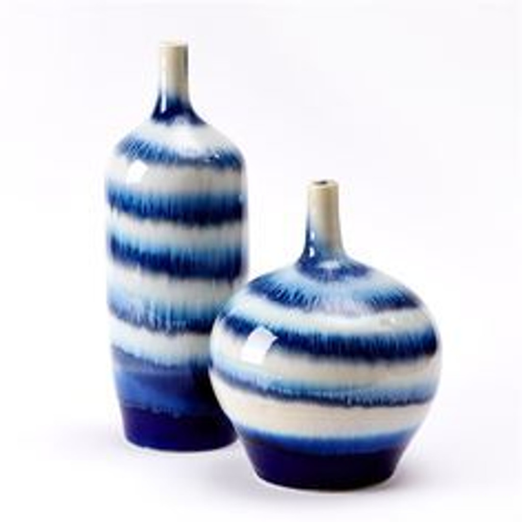 Blue & White Horizontal Striped Vase