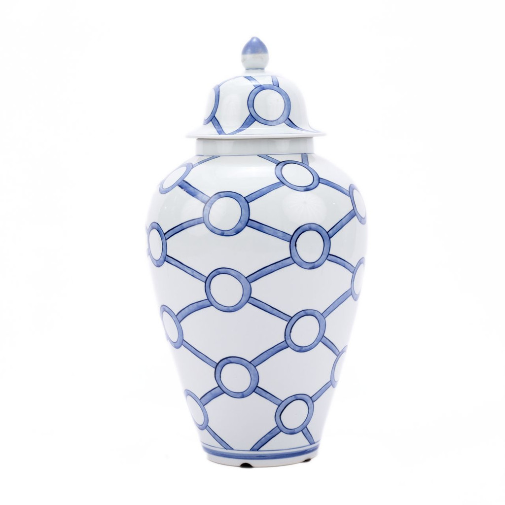 Blue & White Crossing Circles Heaven Jar