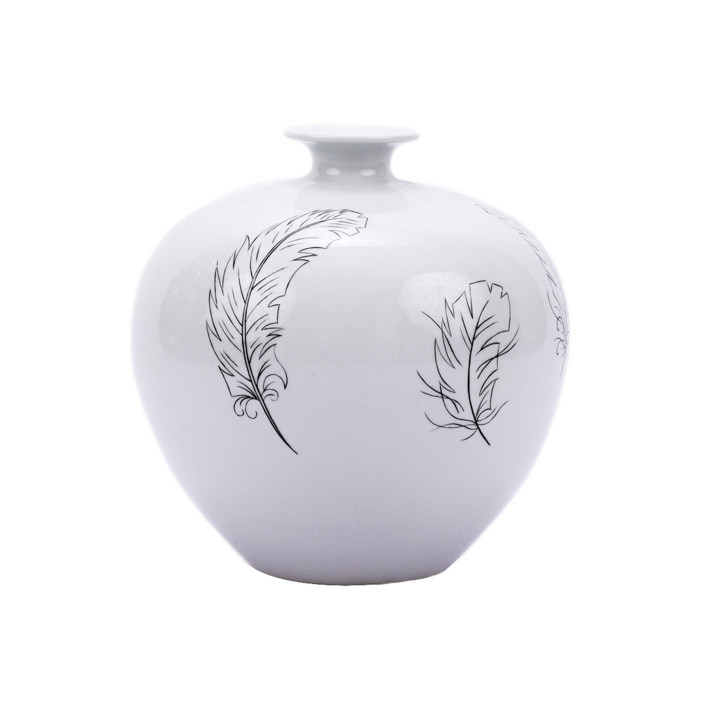 White Pomegranate Vase With Black Feathers