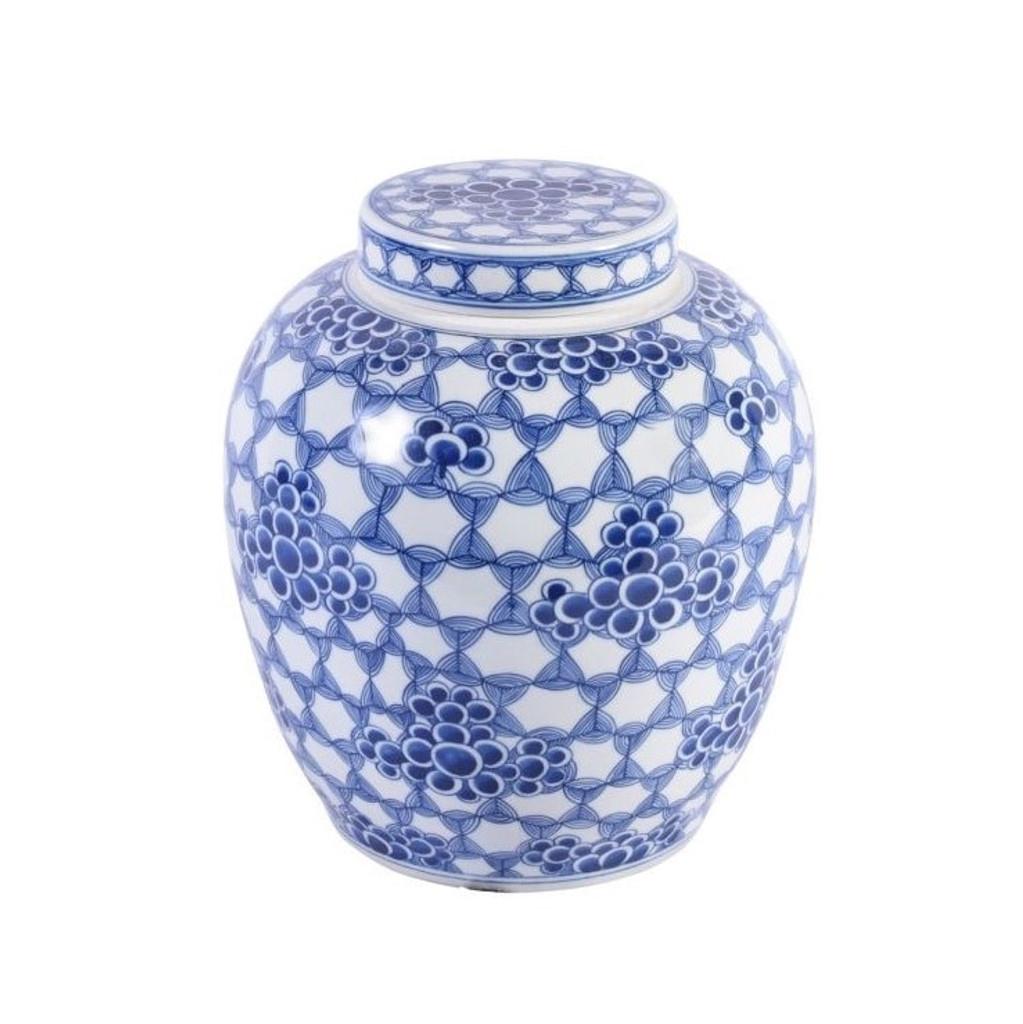 Blue & White Porcelain Honeycomb Floral Lidded Ming Jar