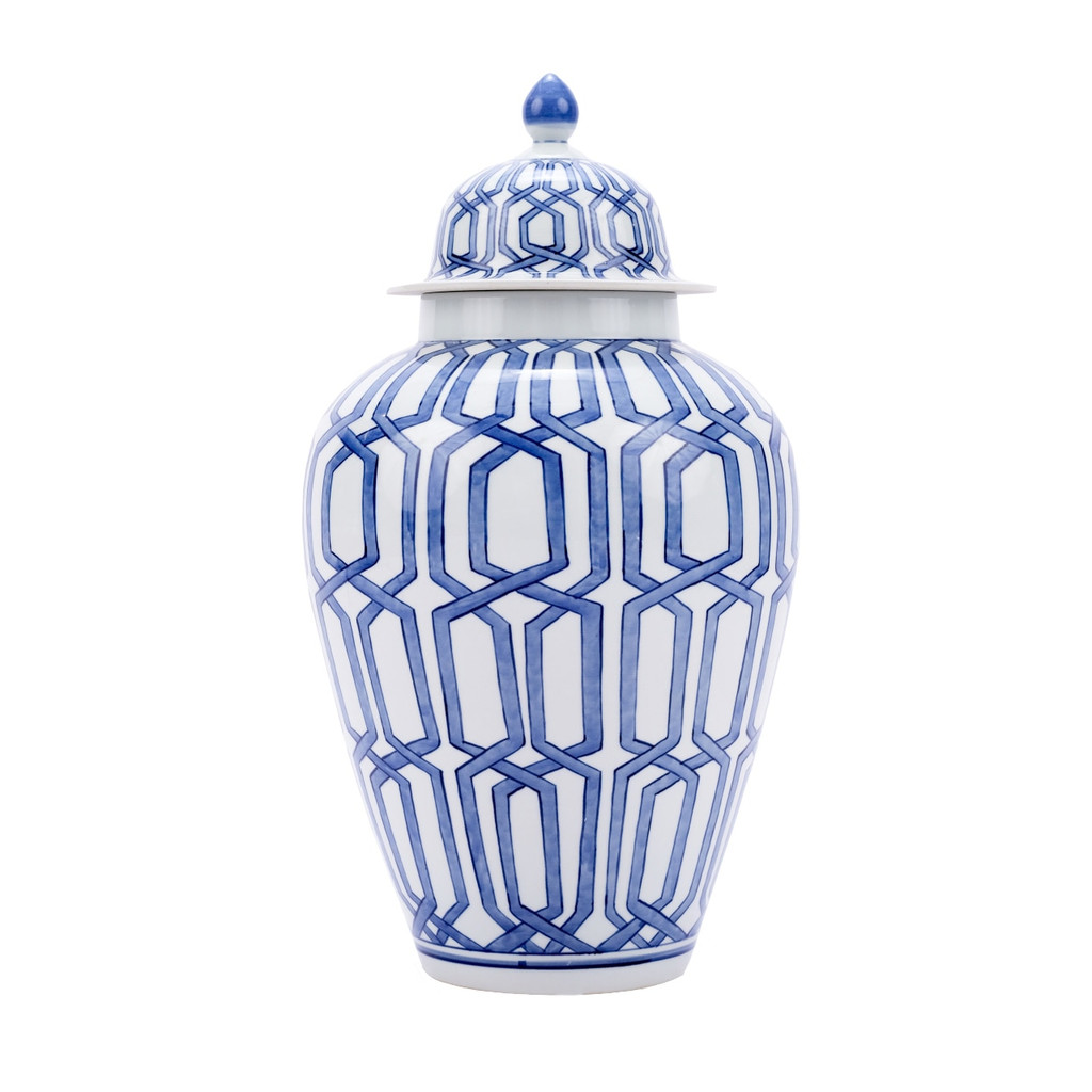 Blue & White Crossing Dimaond Heaven Jar