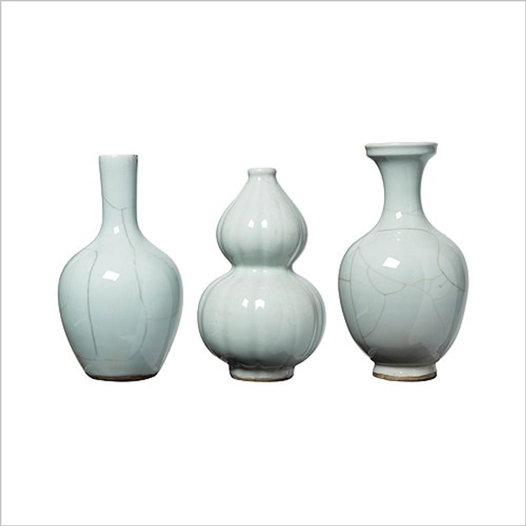 Crackle Celadon Bud Vases - Set of 3