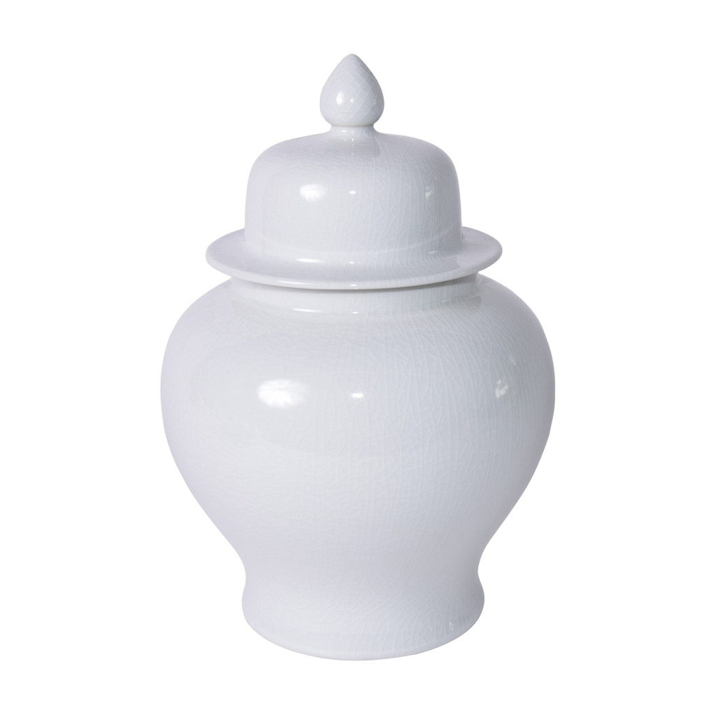 Temple Jar White Crackle - S
