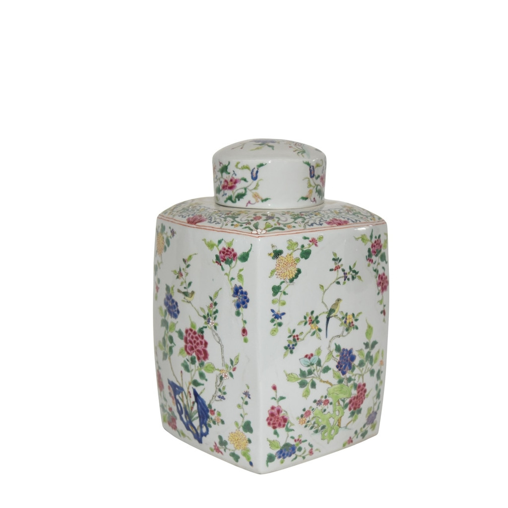 Chinoisery Floral Cylinder Tea Jar Multi-Colored
