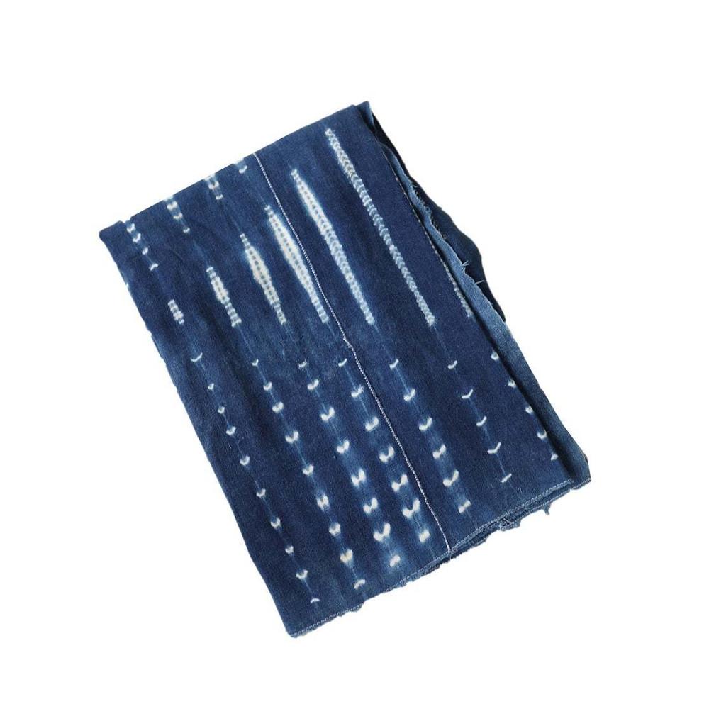 Vintage Mali Indigo Scarf Throw Shibori Pattern Mixed