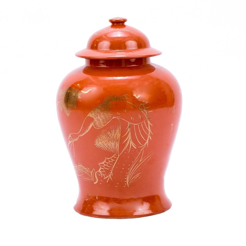 Orange Temple Jar With Gilt Pine & Crane