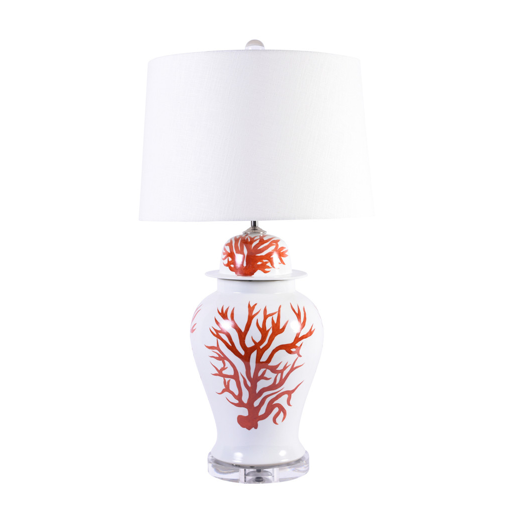 Red Coral Temple Jar Table Lamp