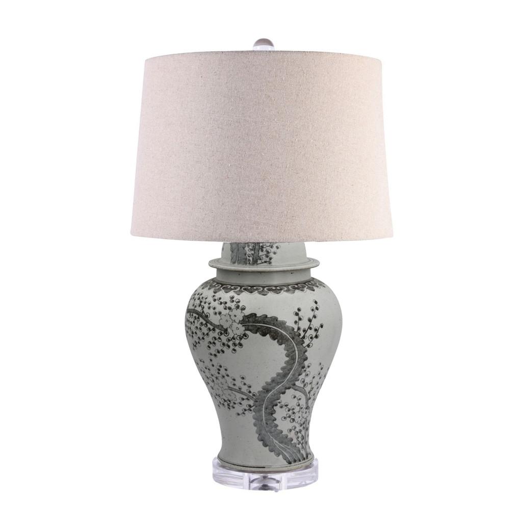 Hong Wu Plum Temple Jar Lamp Linen Shade