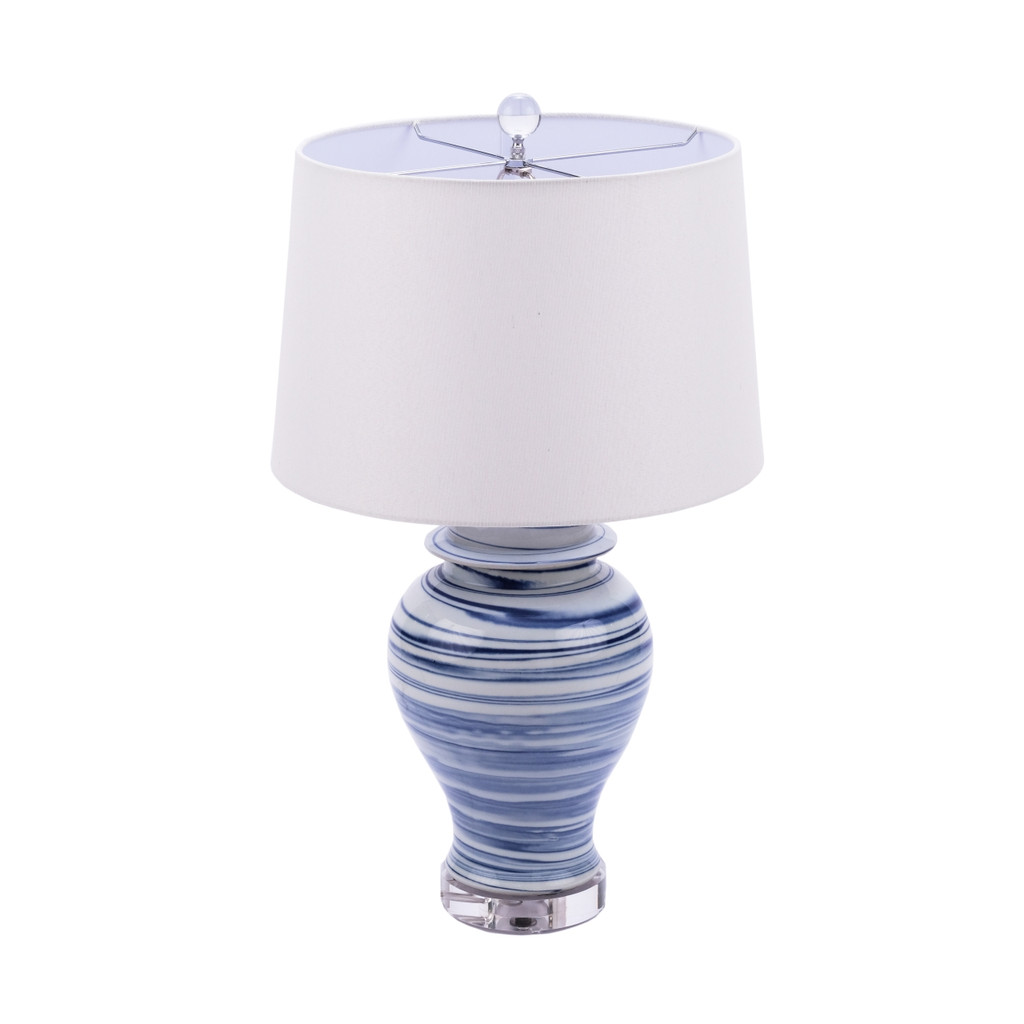 Blue and White Marbleized Porcelain Table Lamp