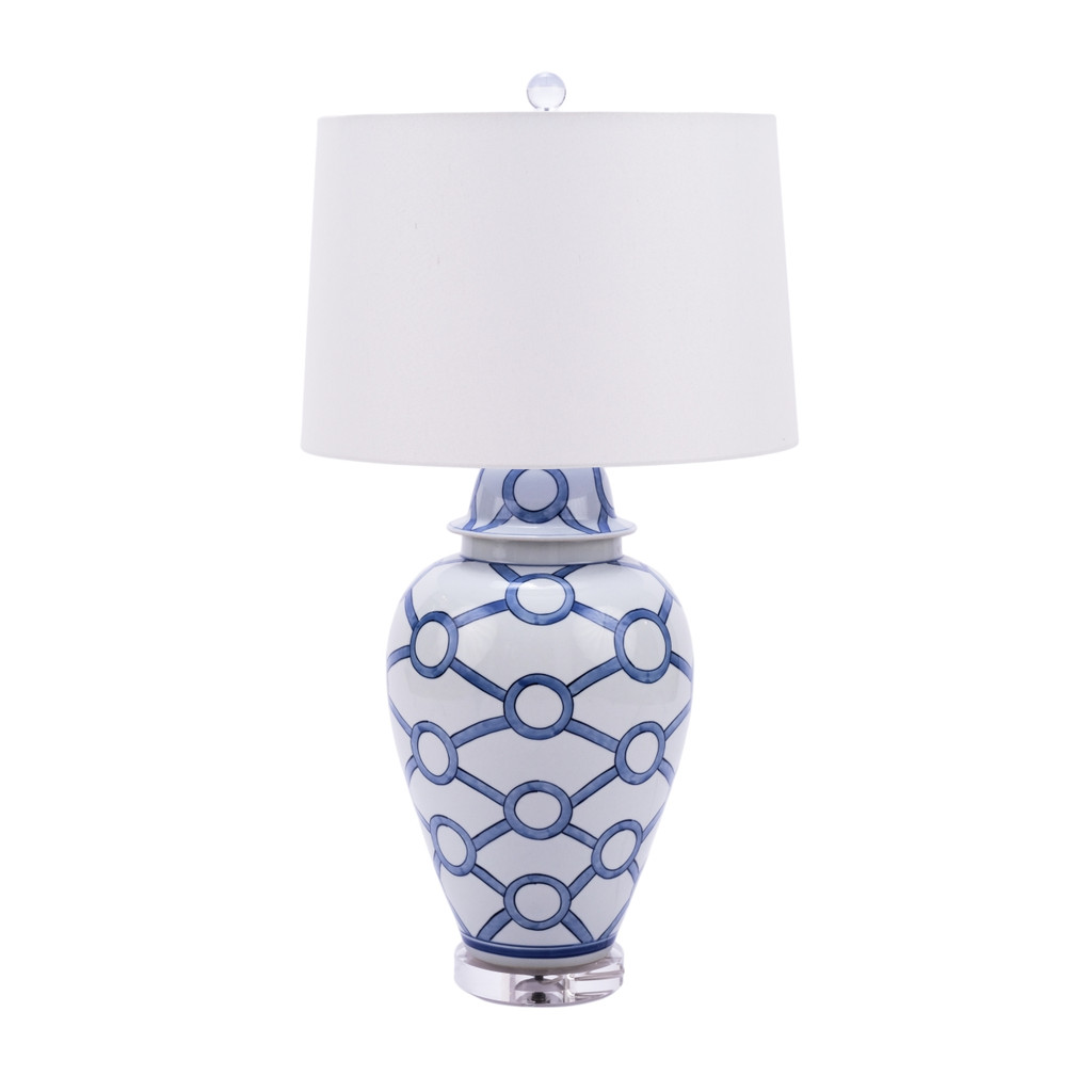 Blue and White Crossing Circle Lamp