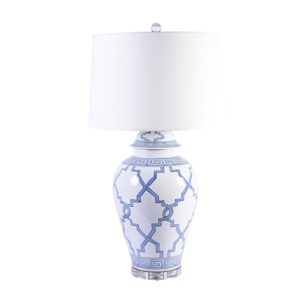 Blue & White Greek Key Grids Lamp