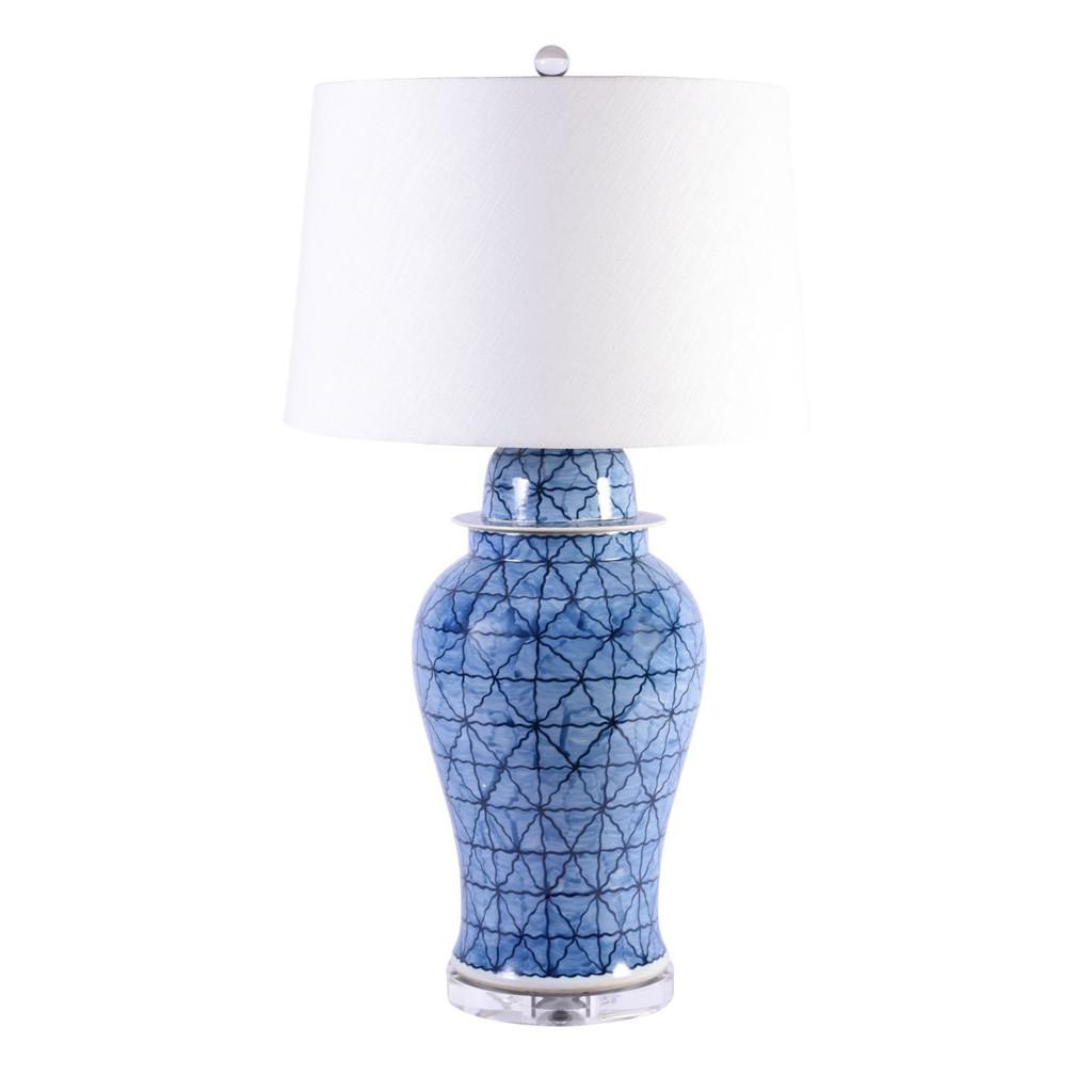 Blue & White Porcelain Chess Grids Table Lamp