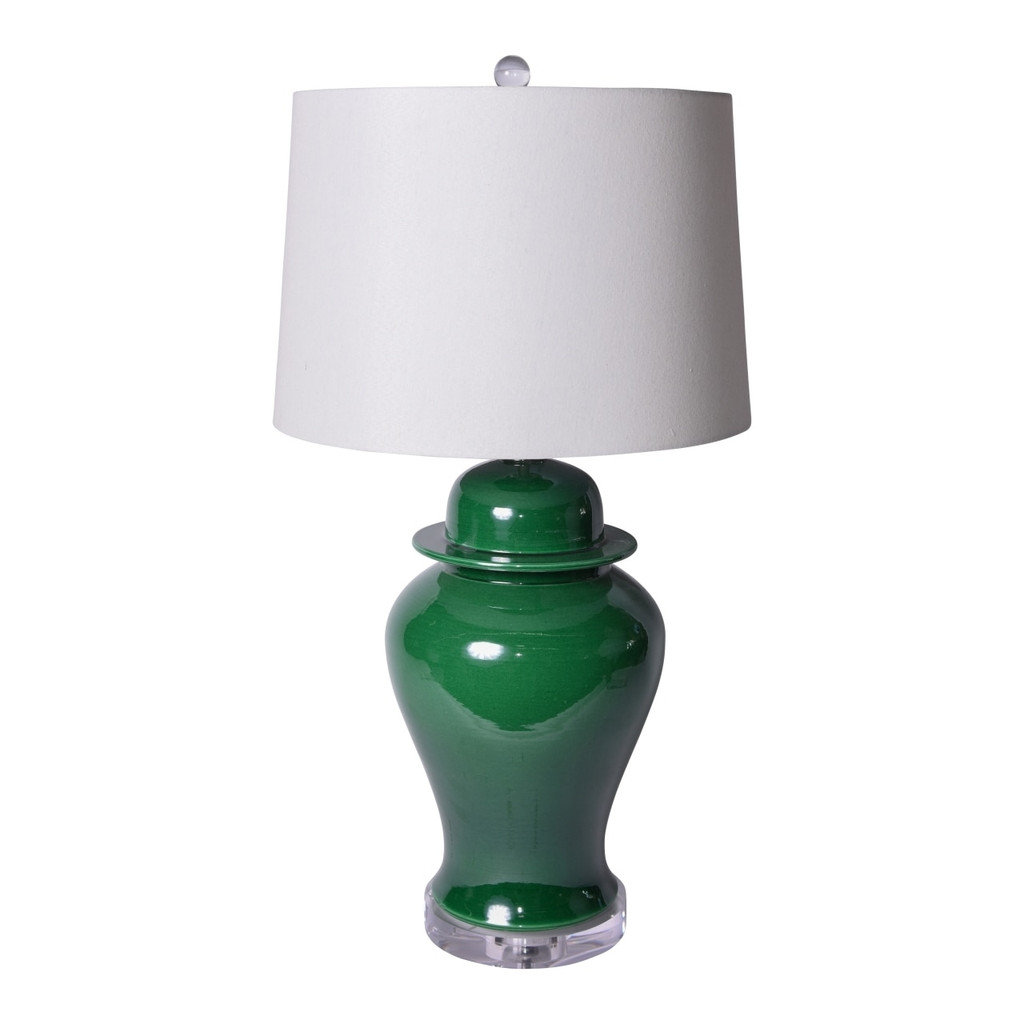 Emerald Green Temple Jar Table Lamp