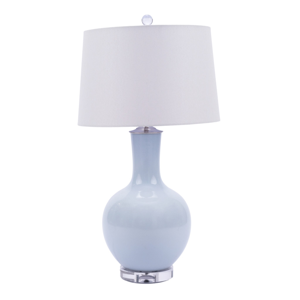 Icy Blue Globular Vase Table Lamp