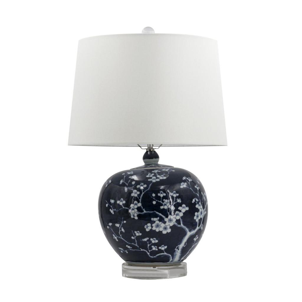 Blue & White Porcelain Plum Melon Shape Lamp
