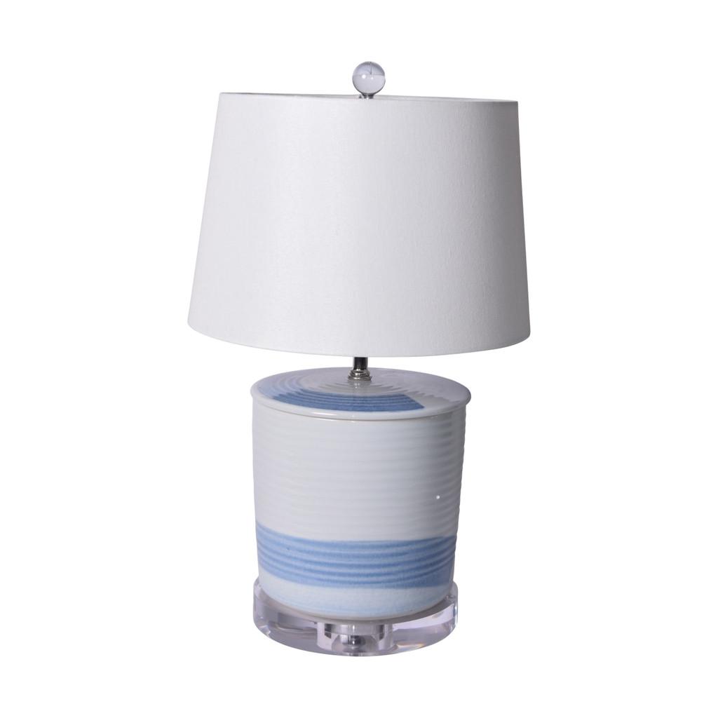 Blue and White Brushstroke Tea Jar Large Table Lamp