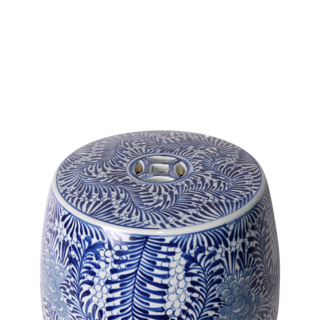 Blue & White Blooming Flowers Porcelain Garden Stool