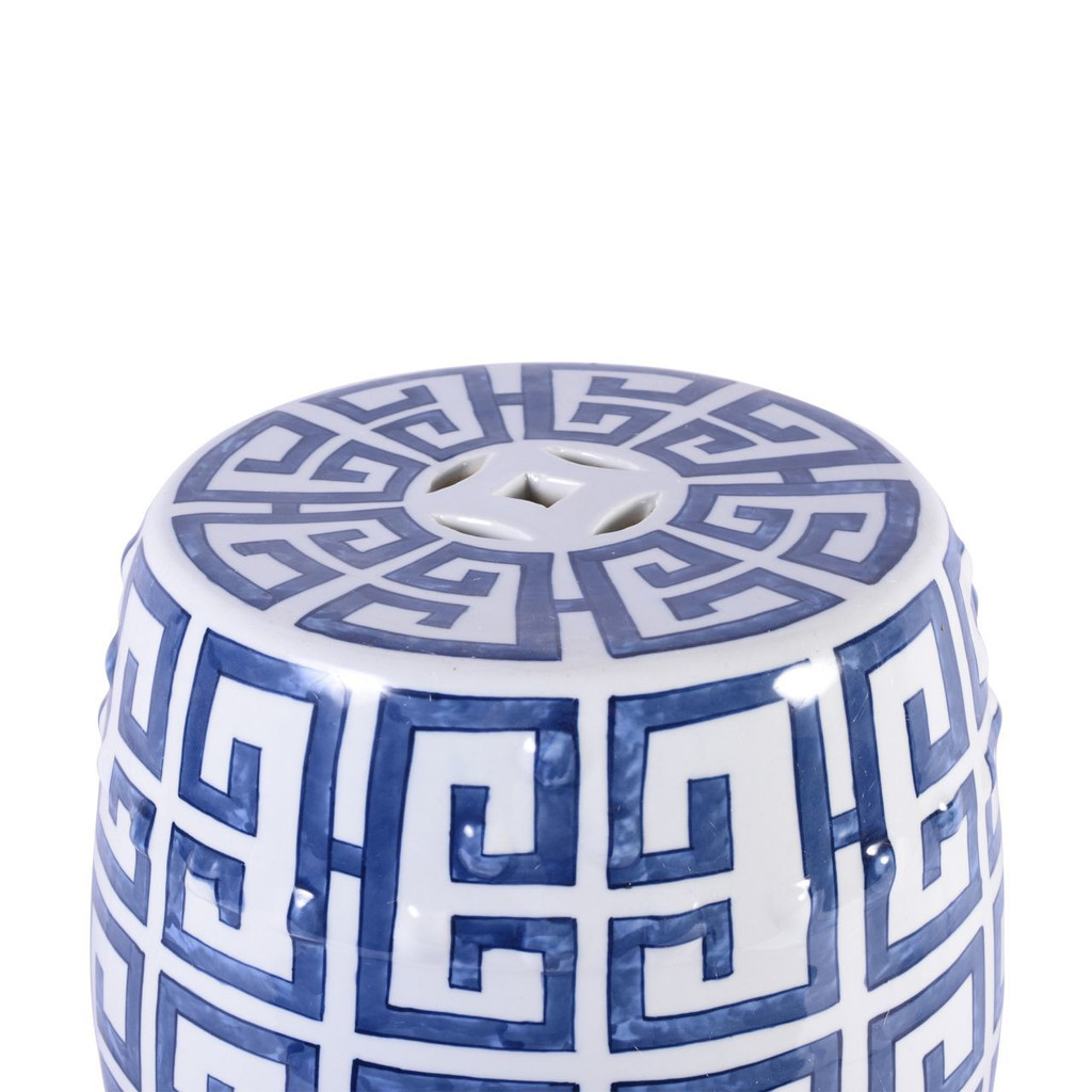 Blue and White Greek Key Porcelain Garden Stool