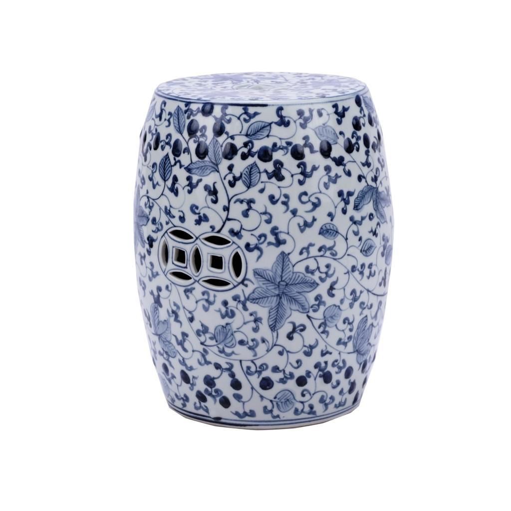 Blue & White Porcelain Garden Stool Climbing Vines