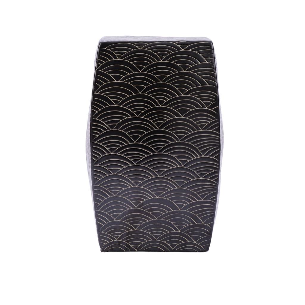 Seawave Square Porcelain Garden Stool Black